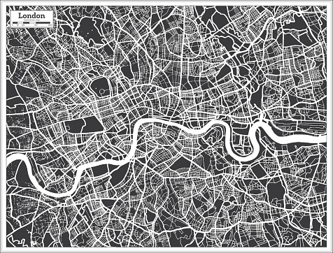 London UK City Map in Black and White Color in Retro Style. Outline Map.