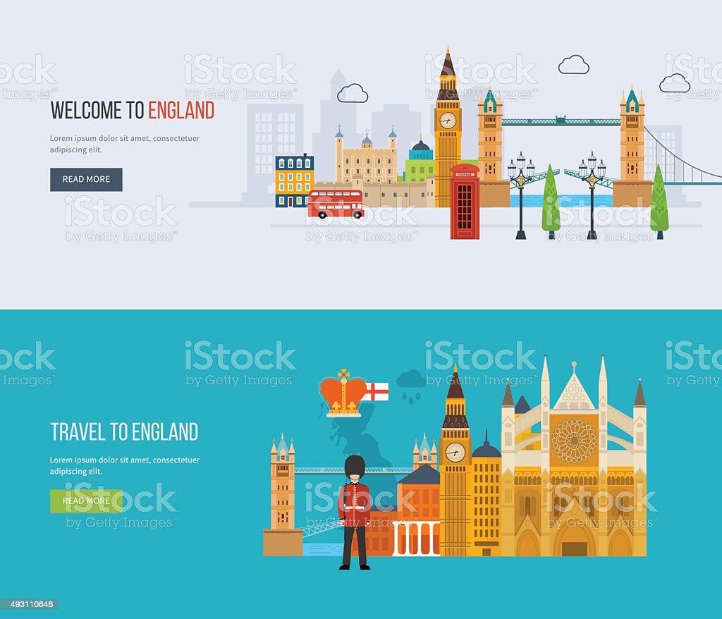 London, United Kingdom flat icons. London travel. Historical, modern building