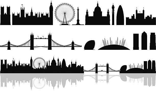 London (Buildings Are Detailed, Moveable and Complete) Every building is complete, highly detailed and on a different layer so this file is easy to edit. From left to right; Westminster Abbey, the Houses of Parliament and Big Ben, the London Eye, Nelson's column, Saint Paul's Cathedral, Telecom Tower, the Gherkin, Tower of London, Tower Bridge, a London taxi, City Hall, the Millenium Dome, and Canary Wharf. london stock illustrations