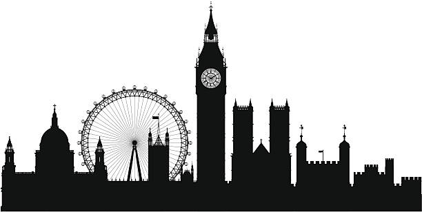 London (Each Building is Moveable and Complete) Highly detailed silhouette of London. Each building is separate and complete. london stock illustrations