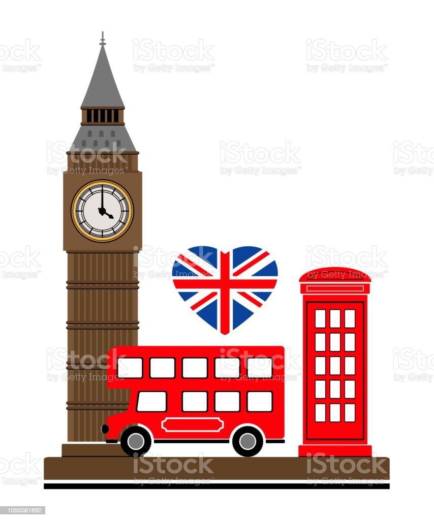 Londres Vecteur Illustration Autobus Langleterre Tour Rouge