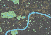 London vector map with dark colors.