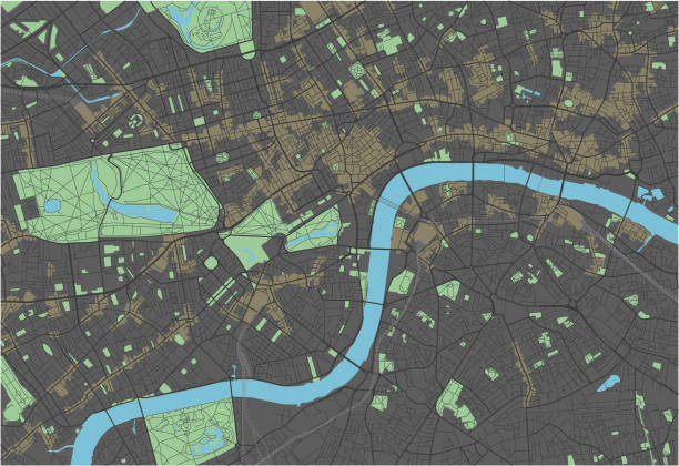 London vector map with dark colors. London vector map with dark colors. color intensity stock illustrations
