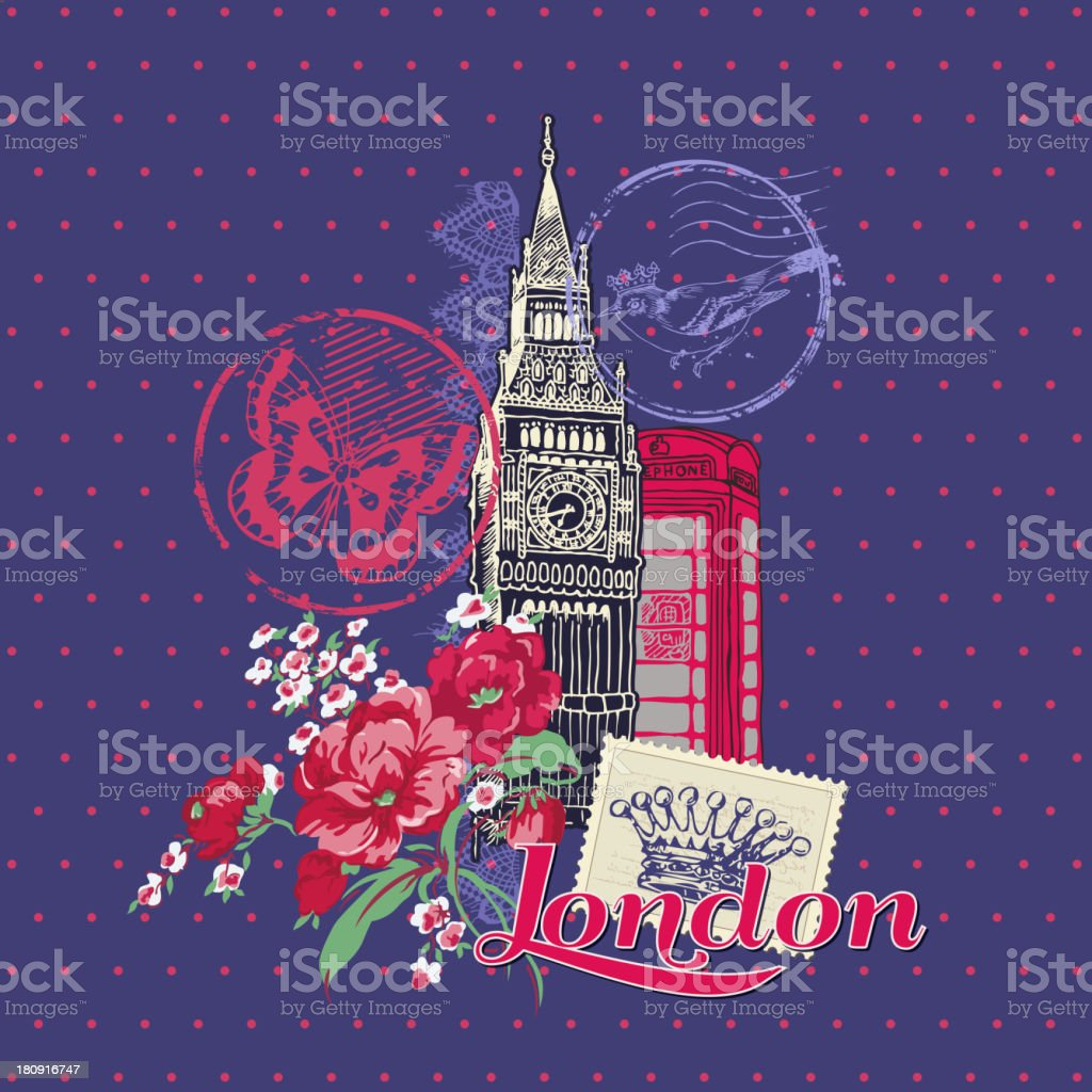 London Vintage Card with Stamps royalty-free london vintage card with stamps stock vector art & more images of backgrounds