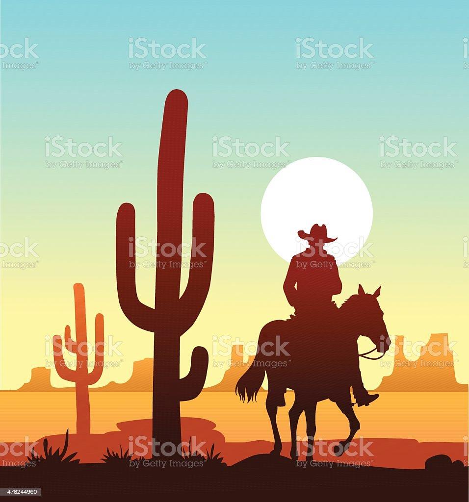 Lone Cowboy Riding in the Desert vector art illustration