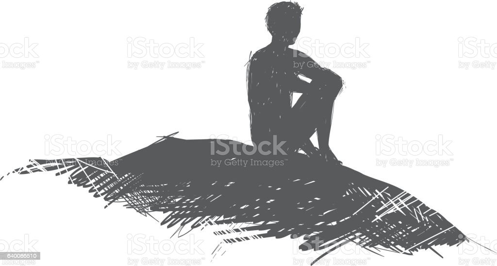Lone man sits on a hill and thinks vector art illustration