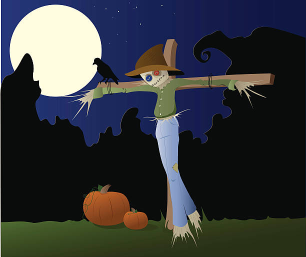 Lone Scarecrow vector art illustration