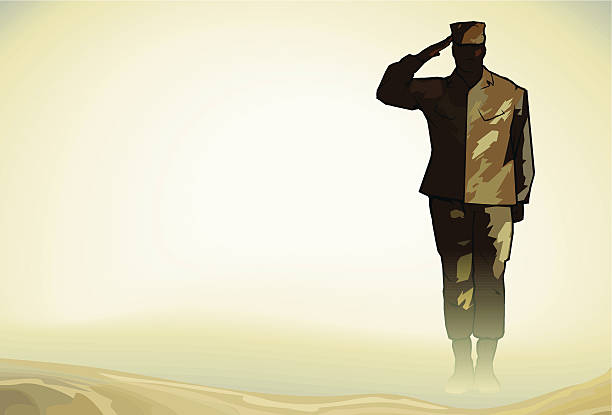 lone soldier salute in desert - army soldier stock illustrations, clip art, cartoons, & icons