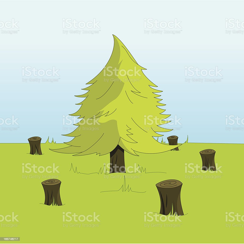 Lone Tree Standing Amongst Stumps After Deforestation royalty-free stock vector art