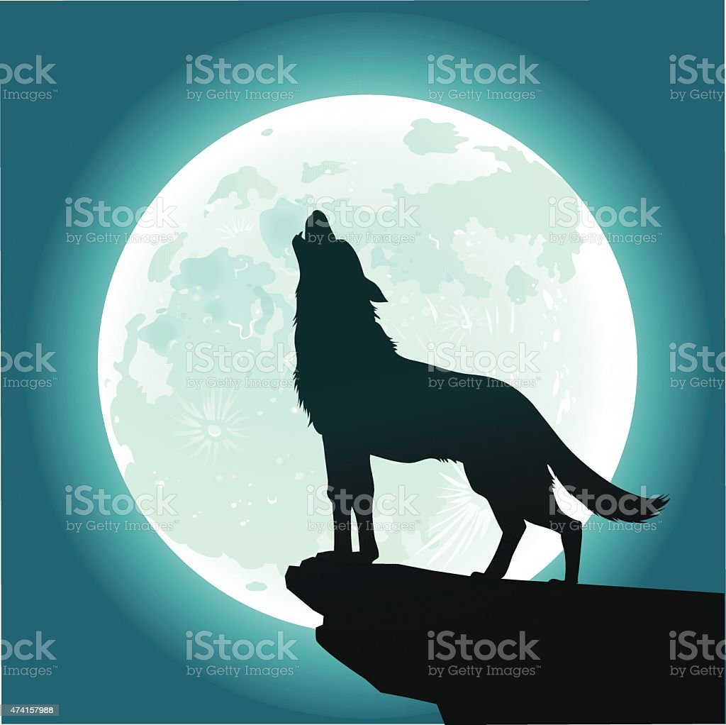 Lone Wolf Howling at the Moon vector art illustration
