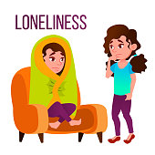 Loneliness Cartoon Vector Poster Template With Text