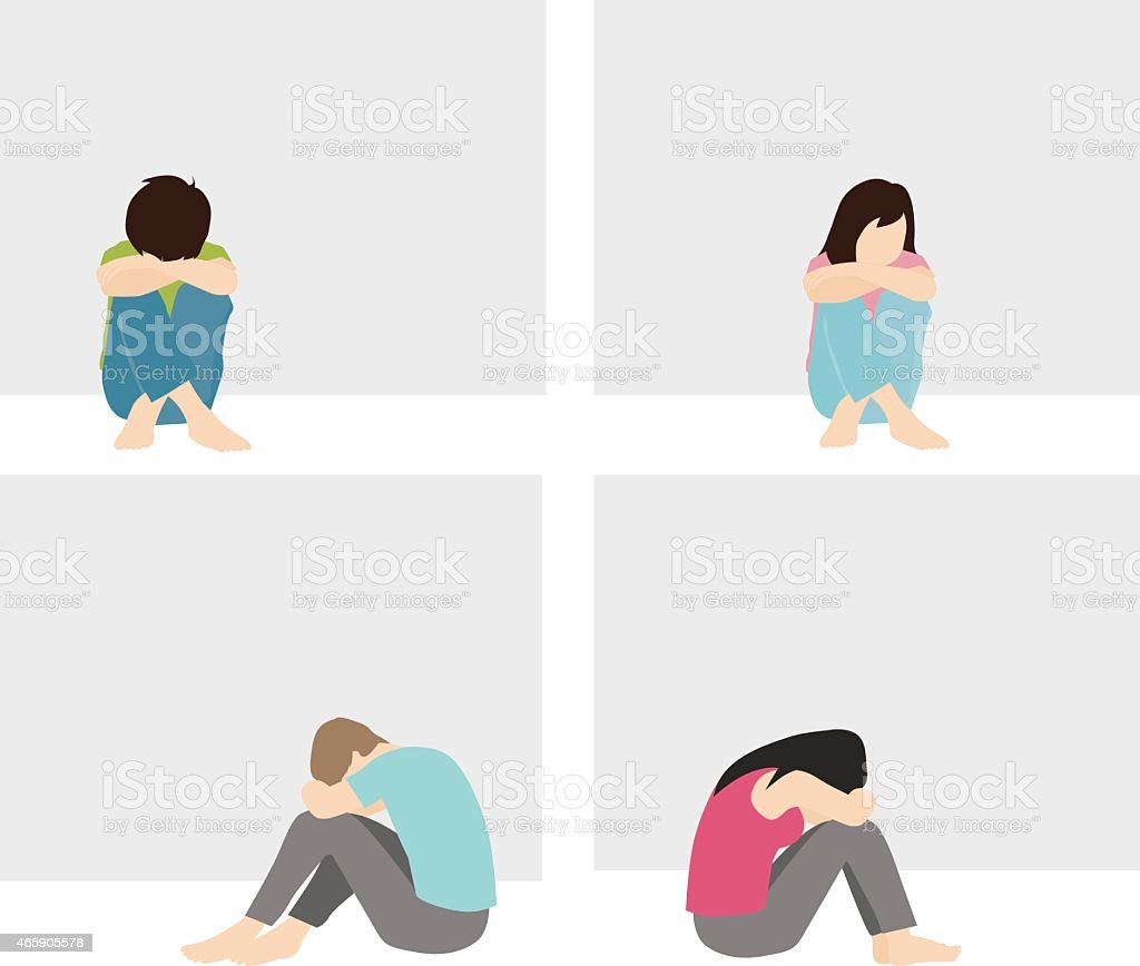 lonely and sad man and woman vector art illustration