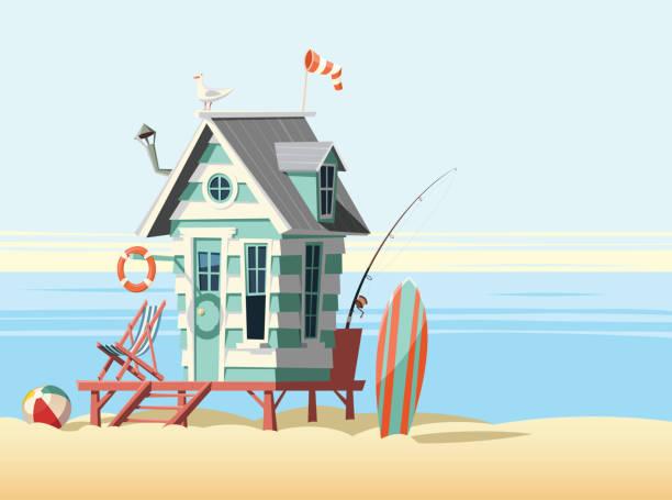 einsame strandhütte - angelurlaub stock-grafiken, -clipart, -cartoons und -symbole