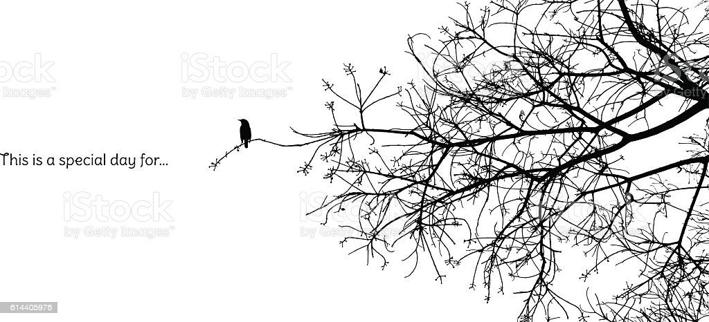 Lonely bird stands on a branch of a naked tree silhouette vector art illustration