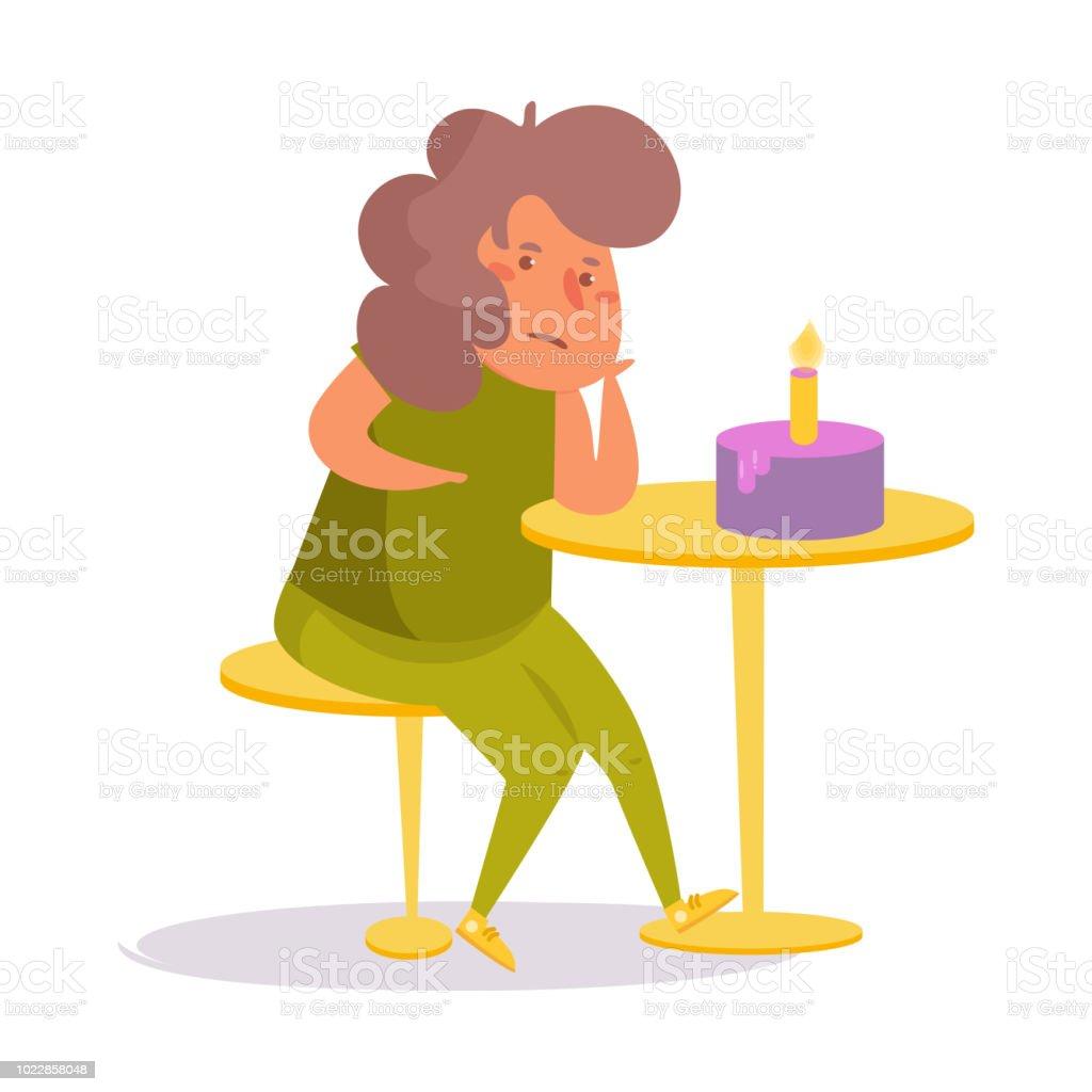 Cartoon Verjaardag Vrouw.Eenzame Verjaardag Vector Cartoon Geisoleerde Kunst Vrouw