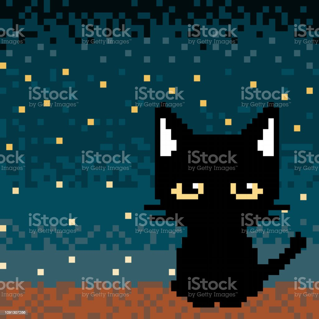 Lonely Black Cat Pixel Art Stock Illustration Download