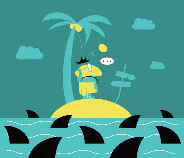 Lonely businessman (man with a beard) standing on a small island, surrounded by sharks, getting hit by a coconut vector art illustration