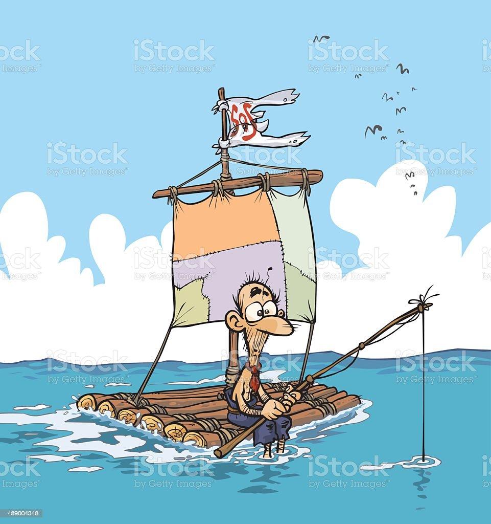 Lonely castaway on a raft. vector art illustration