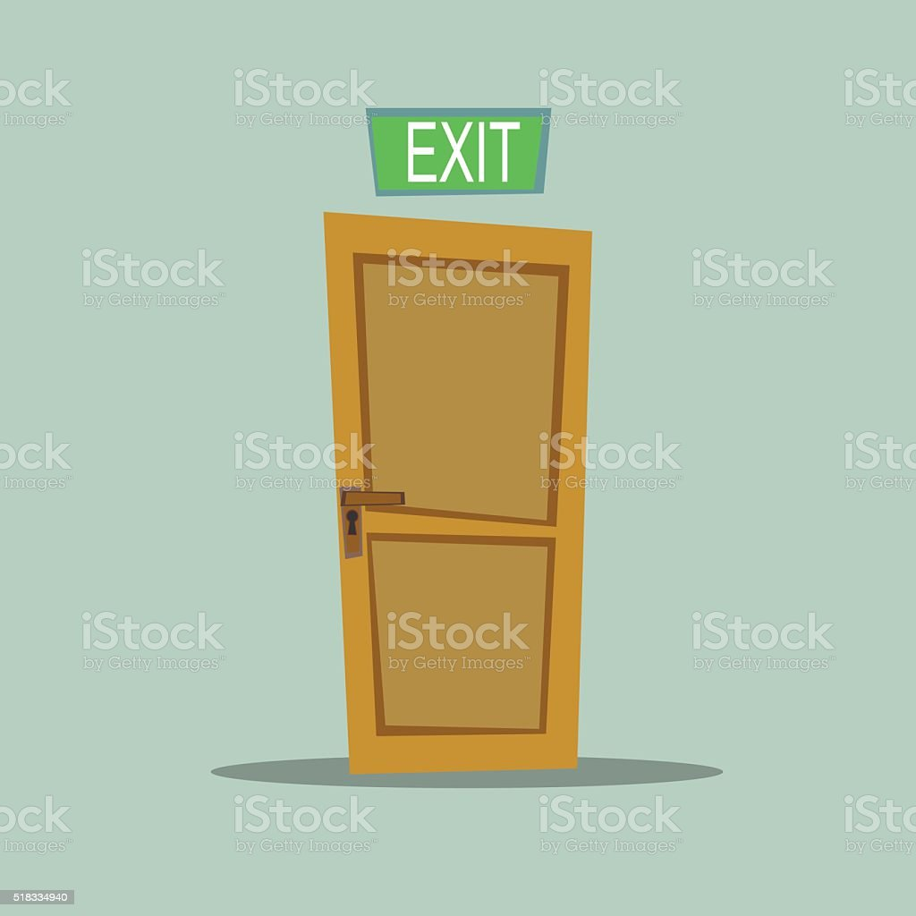 Lonely door exit vector art illustration