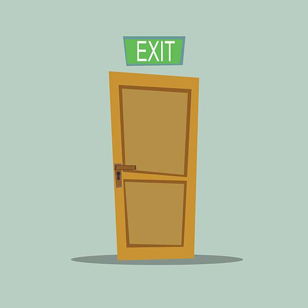 Lonely door exit A wooden door with exit sign, vector illustration vehicle door stock illustrations