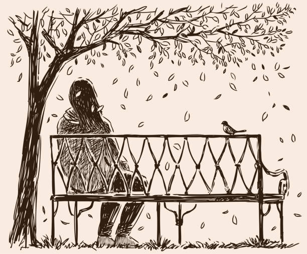 A lonely girl sits o a bench in an autumn park Vector image of a young woman resting in a city park. loneliness stock illustrations