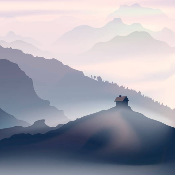 Lonely house in the mountain landscape Lonely house in the mountain landscape. Vector illustration mountains in mist stock illustrations