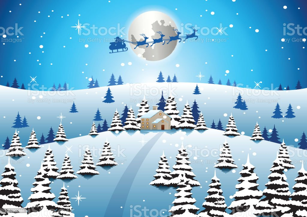 lonely house on xmas night and santa fly away to send gift to...