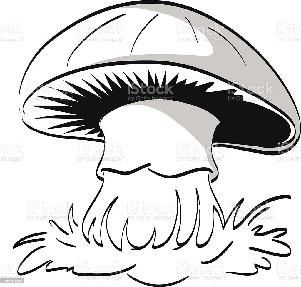 Lonely Mushroom On A White Background Coloring Page Stock Vector Art