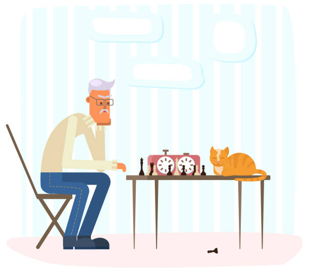 lonely old man playing chess with a ginger cat. - old man playing chess silhouettes stock illustrations, clip art, cartoons, & icons