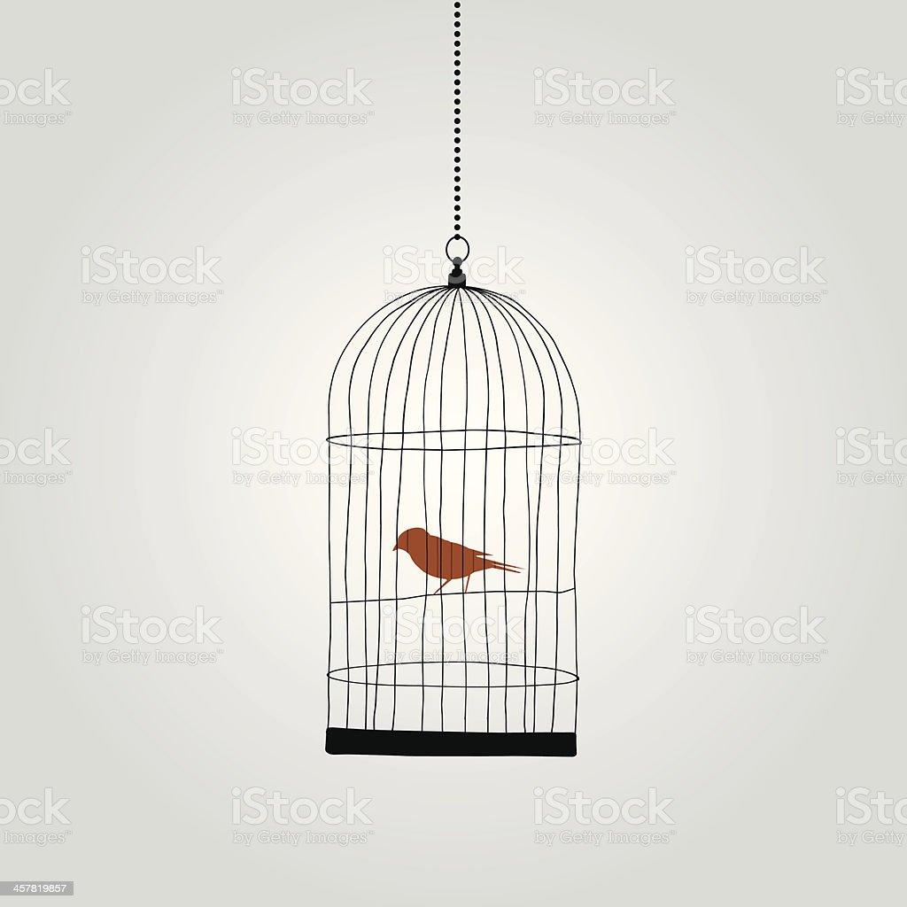 lonely red bird in birdcage. vector illustration vector art illustration