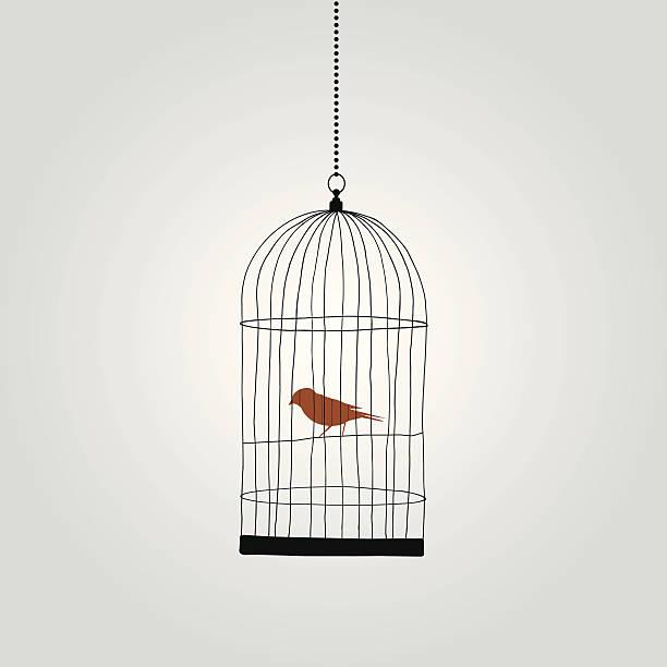 stockillustraties, clipart, cartoons en iconen met lonely red bird in birdcage. vector illustration - kooi