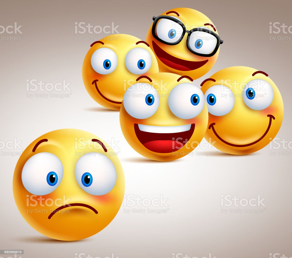 Lonely smiley face vector character concept with of funny faces vector art illustration