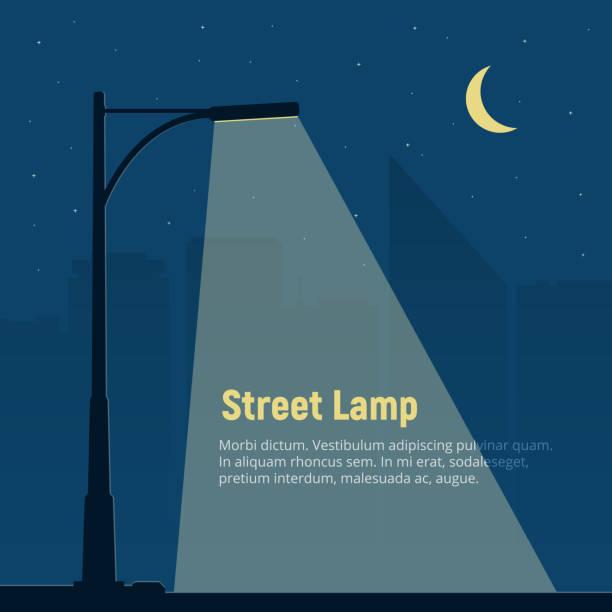 lonely street lampe im hintergrund die nächtliche stadt. silhouette von einer straßenlaterne in der nacht. vektor-illustration im flachen stil. - citylight stock-grafiken, -clipart, -cartoons und -symbole