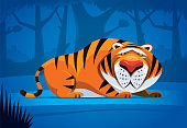 vector illustration of lonely tiger in jungle