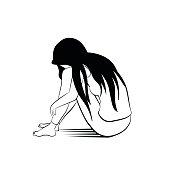 Loney woman sketching