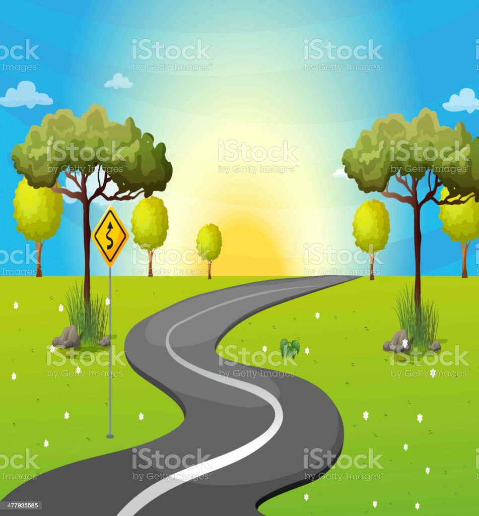 Long and winding road at the forest royalty-free stock vector art