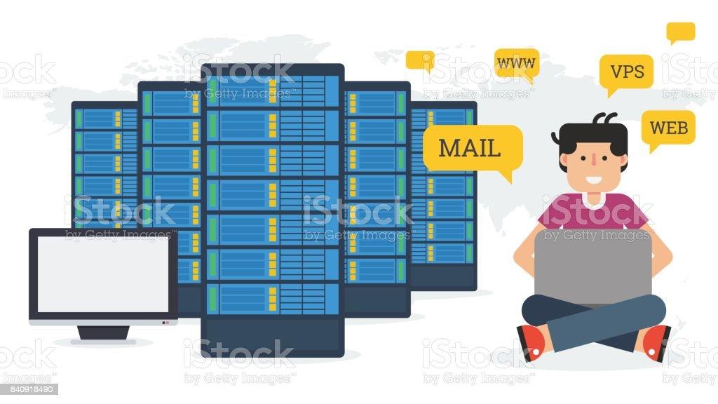 Long banner - Web hosting administration vector art illustration