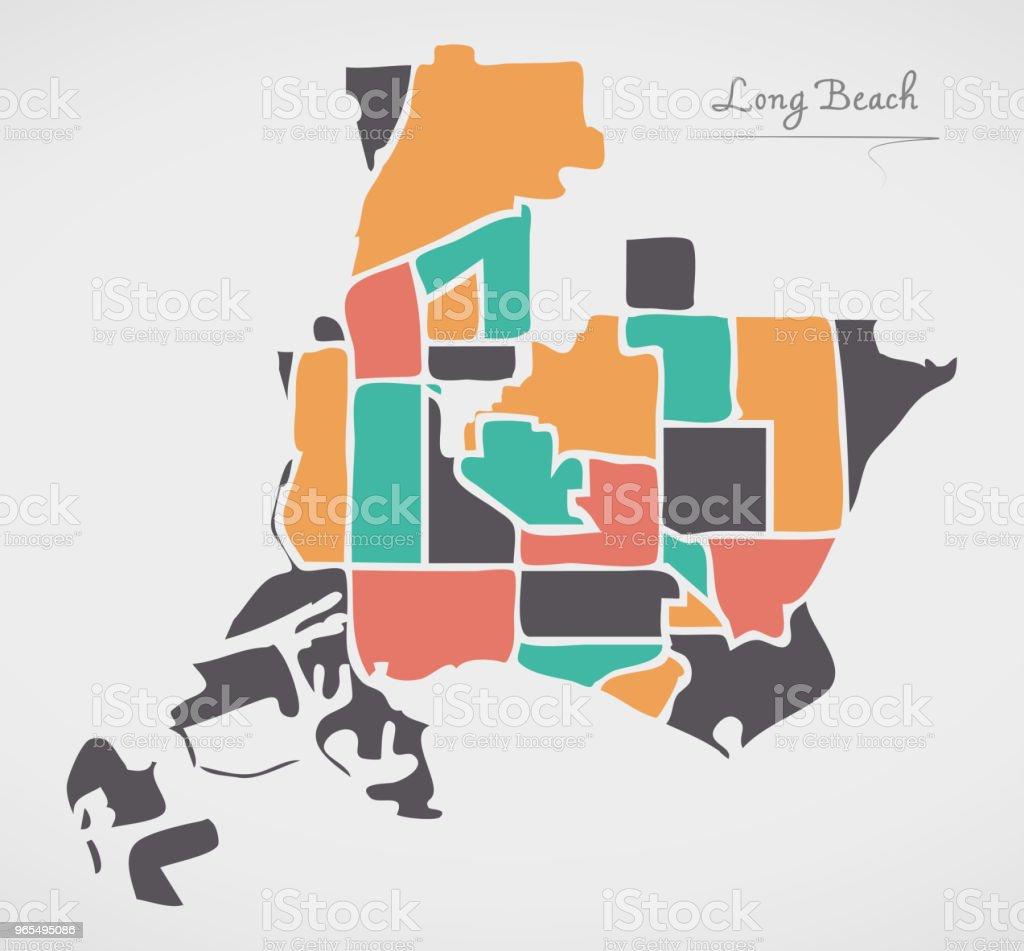 Long Beach California Map Mit Nachbarschaften Und Moderne Runde ...