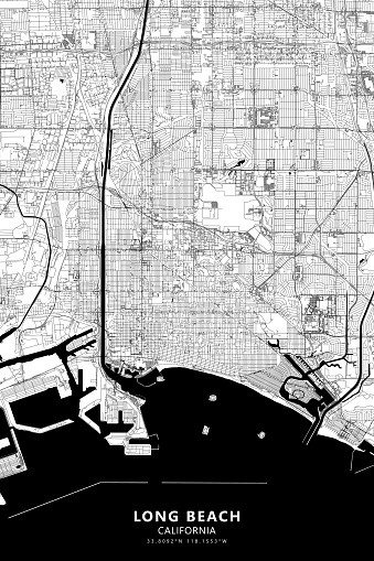 Poster Style Topographic / Road map of Long Beach, California CA. USA United States of America. Original map data is open data via © OpenStreetMap contributors. All maps are layered and easy to edit. Roads are editable stroke.