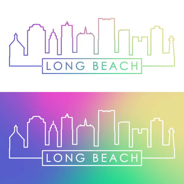 Long Beach skyline. Colorful linear style. Editable vector file. Long Beach skyline. Colorful linear style. Editable vector file. long beach california stock illustrations