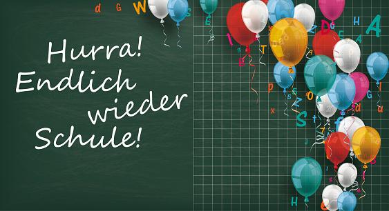 Long Blackboard Balloons Letters Endlich Schule