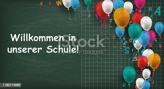 istock Long Blackboard Balloons Letters Willkommen Schule 1160174582