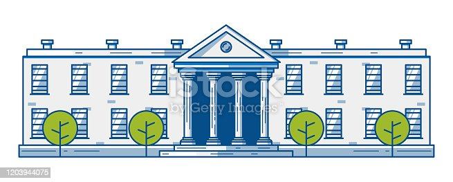 A long Building with columns