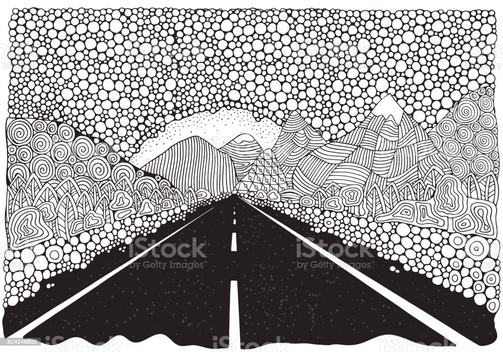 Long car highway stretching into the distance and mountains. landscape. Anti stress Coloring Book page for adult. Black and White vector vector art illustration