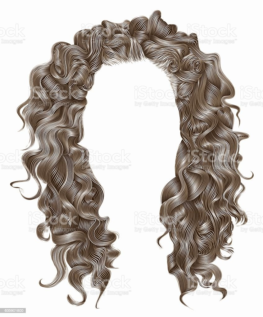 long curly hairs  light blond  colors .  beauty fashion style . wig . vector art illustration