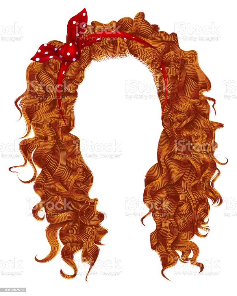 Lange Lockige Haare Mit Roter Schleife Ingwerrothaarige