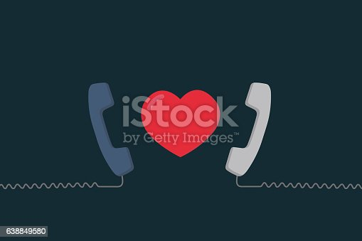 Two Telephone line with love shape
