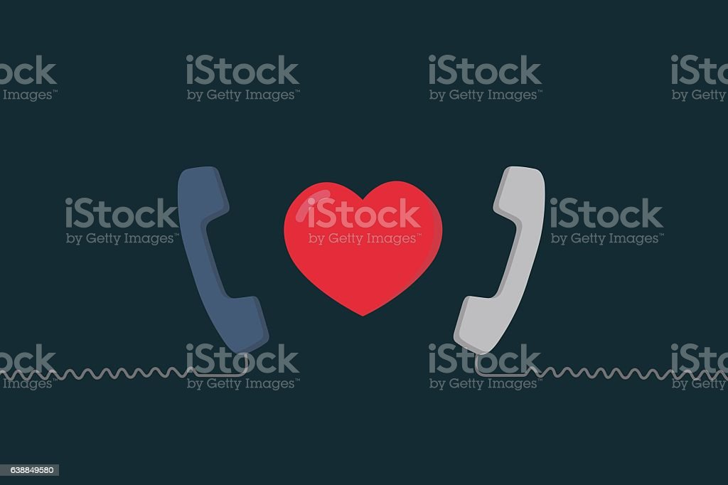 Long Distance Relationship Illustration, Love talking, love call, vector art illustration
