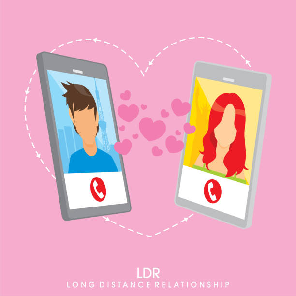 Long Distance Relationship Vector image about internet and social media long distance relationship stock illustrations