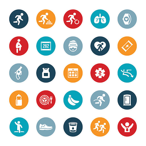 langen langstreckenlauf symbole - langstreckenlauf stock-grafiken, -clipart, -cartoons und -symbole
